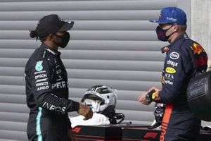 Pole man Lewis Hamilton, Mercedes-AMG Petronas F1, with Max Verstappen, Red Bull Racing, in Parc Ferme