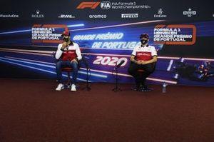 Antonio Giovinazzi, Alfa Romeo, and Kimi Raikkonen, Alfa Romeo, in the press conference