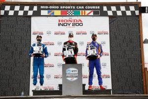 Josef Newgarden, Team Penske Chevrolet, Will Power, Team Penske Chevrolet, Alexander Rossi, Andretti Autosport Honda, podium