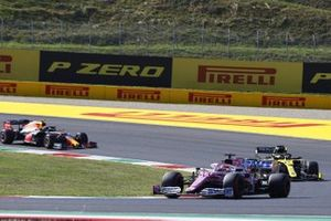 Sergio Perez, Racing Point RP20, Daniel Ricciardo, Renault F1 Team R.S.20, and Alex Albon, Red Bull Racing RB16