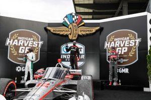 Colton Herta, Andretti Harding Steinbrenner Autosport Honda, Will Power, Team Penske Chevrolet, Alexander Rossi, Andretti Autosport Honda, podium