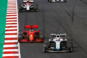 George Russell, Williams FW43, Sebastian Vettel, Ferrari SF1000, and Antonio Giovinazzi, Alfa Romeo Racing C39