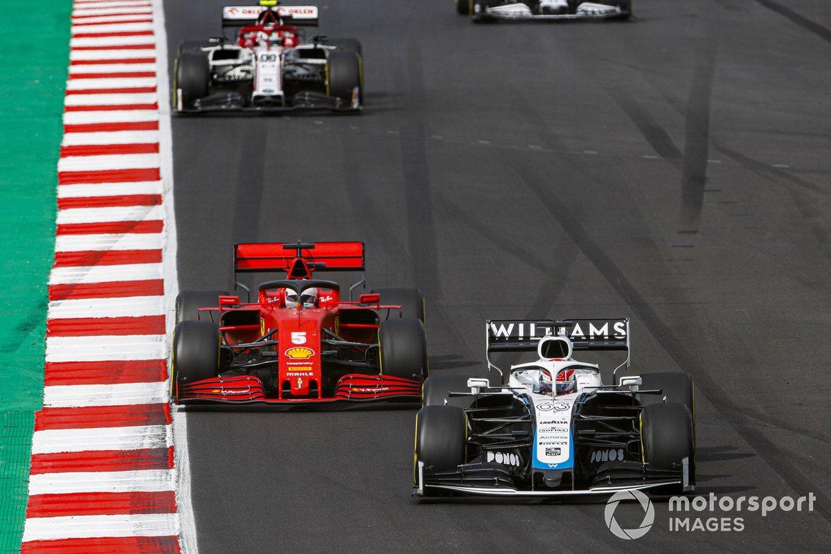 George Russell, Williams FW43, Sebastian Vettel, Ferrari SF1000, Antonio Giovinazzi, Alfa Romeo Racing C39
