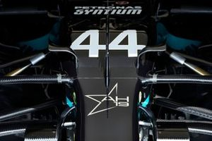 Tribute star for Anthoine Hubert on the nose of Lewis Hamilton's Mercedes F1 W11 EQ Performance