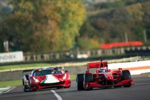 Marc Gene, Ferrari F60, leads a 458 GT car