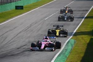 Sergio Perez, Racing Point RP20, Daniel Ricciardo, Renault F1 Team R.S.20, Valtteri Bottas, Mercedes F1 W11, and Max Verstappen, Red Bull Racing RB16