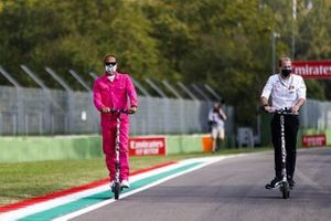Lewis Hamilton, Mercedes-AMG F1 on a scooter walks the track