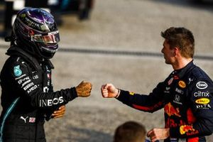 Lewis Hamilton, Mercedes-AMG F1 en Max Verstappen, Red Bull Racing