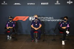 Sergio Perez, Racing Point, Otmar Szafnauer, Team Principal and CEO, Racing Point, and Lance Stroll, Racing Point, in a Press Conference