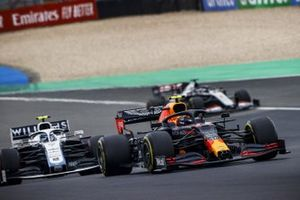 Alex Albon, Red Bull Racing RB16, Nicholas Latifi, Williams FW43, and Romain Grosjean, Haas VF-20