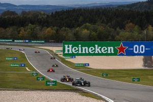 Lewis Hamilton, Mercedes F1 W11, Max Verstappen, Red Bull Racing RB16, Charles Leclerc, Ferrari SF1000, and Daniel Ricciardo, Renault F1 Team R.S.20