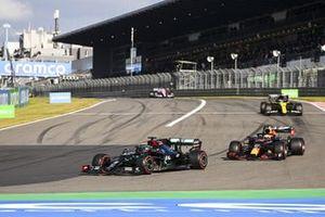 Lewis Hamilton, Mercedes F1 W11, Max Verstappen, Red Bull Racing RB16 and Daniel Ricciardo, Renault F1 Team R.S.20