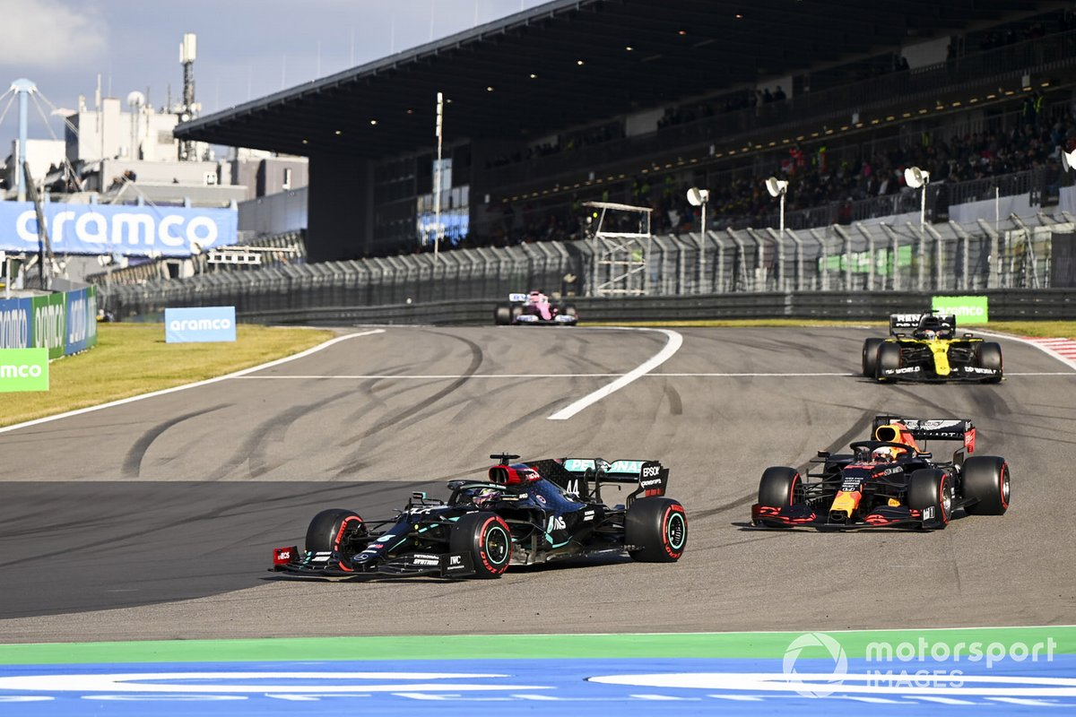 Lewis Hamilton, Mercedes F1 W11, Max Verstappen, Red Bull Racing RB16 and Daniel Ricciardo, Renault F1 Team R.S.20