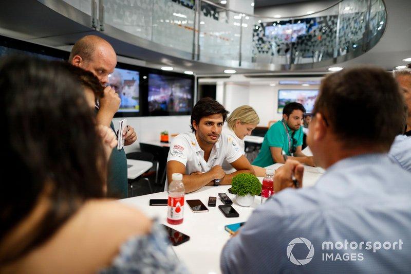 Carlos Sainz Jr., McLaren, talks to the media