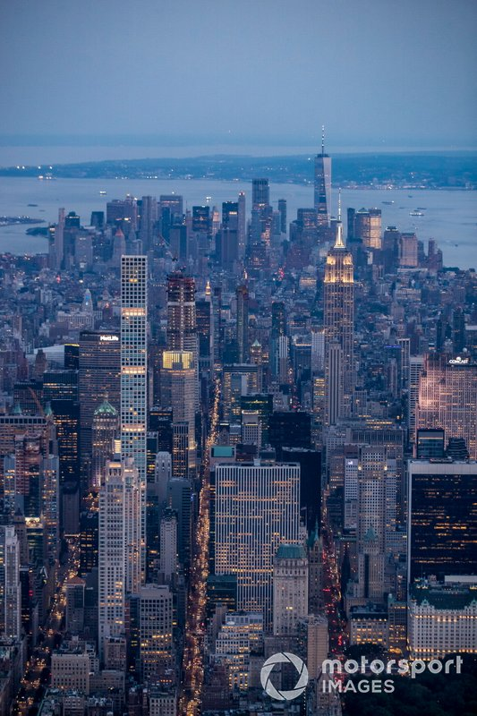 Aerial view over New York City