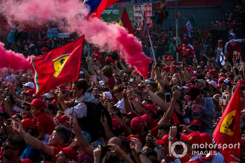 The crowd is a sea of red in celebration of a home win for Ferrari