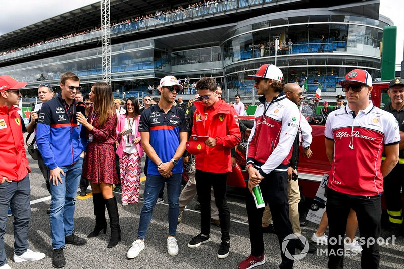 Daniil Kvyat, Toro Rosso, Pierre Gasly, Toro Rosso, Charles Leclerc, Ferrari, Antonio Giovinazzi, Alfa Romeo Racing, y Kimi Raikkonen, Alfa Romeo Racing