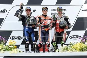 Podium: race winner Marc Marquez, Repsol Honda Team, second place Maverick Vinales, Yamaha Factory Racing, third place Cal Crutchlow, Team LCR Honda