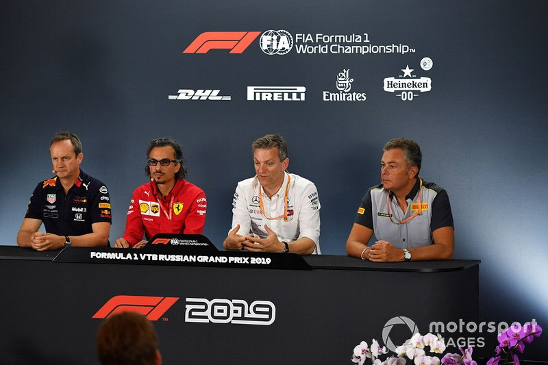 Press conference: Paul Monaghan, Chief Engineer, Red Bull Racing, Laurent Mekies, Sporting Director, Ferrari, James Allison, Technical Director, Mercedes AMG, and Mario Isola, Racing Manager, Pirelli Motorsport
