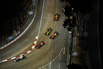 Valtteri Bottas, Mercedes AMG W10, leads Alexander Albon, Red Bull RB15, Carlos Sainz Jr., McLaren MCL34, and Nico Hulkenberg, Renault F1 Team R.S. 19