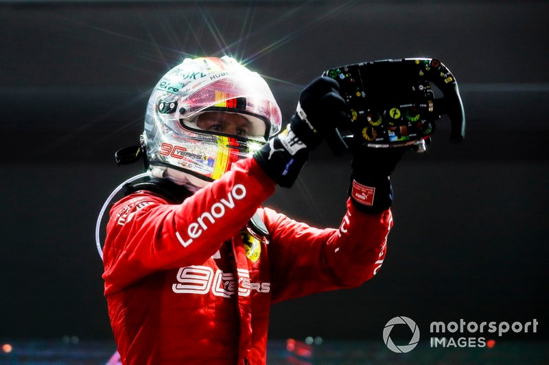 Race winner Sebastian Vettel, Ferrari, celebrates on arrival in Parc Ferme