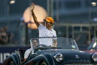 Lando Norris, McLaren, on the drivers parade