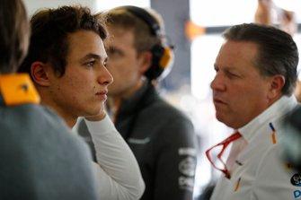 Lando Norris, McLaren, and Zak Brown, Executive Director, McLaren