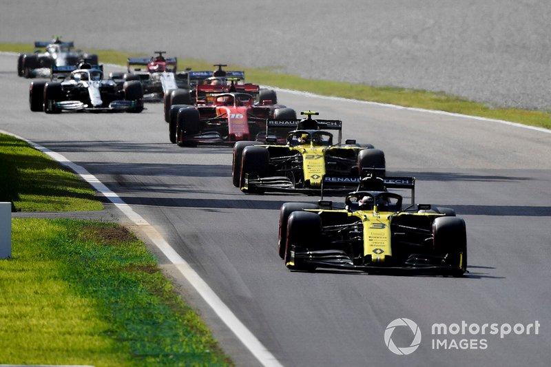 Daniel Ricciardo, Renault F1 Team R.S.19, Nico Hulkenberg, Renault F1 Team R.S. 19, Charles Leclerc, Ferrari SF90, Carlos Sainz Jr., McLaren MCL34, y Lewis Hamilton, Mercedes AMG F1 W10