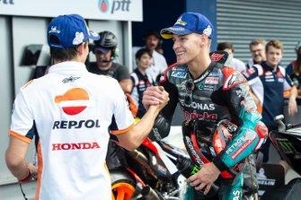Polesitter Fabio Quartararo, Petronas Yamaha SRT, derde plaats Marc Marquez, Repsol Honda Team