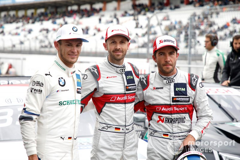 Top 3 after Qualifying, Pole sitter René Rast, Audi Sport Team Rosberg, Marco Wittmann, BMW Team RMG, Mike Rockenfeller, Audi Sport Team Phoenix
