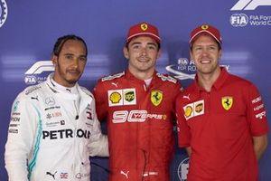Le top 3 des qualifications : Lewis Hamilton, Mercedes AMG F1, le poleman Charles Leclerc, Ferrari, et Sebastian Vettel, Ferrari