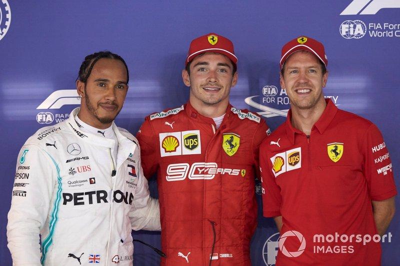 Top tre Qualificati Lewis Hamilton, Mercedes AMG F1, pole man Charles Leclerc, Ferrari, e Sebastian Vettel, Ferrari