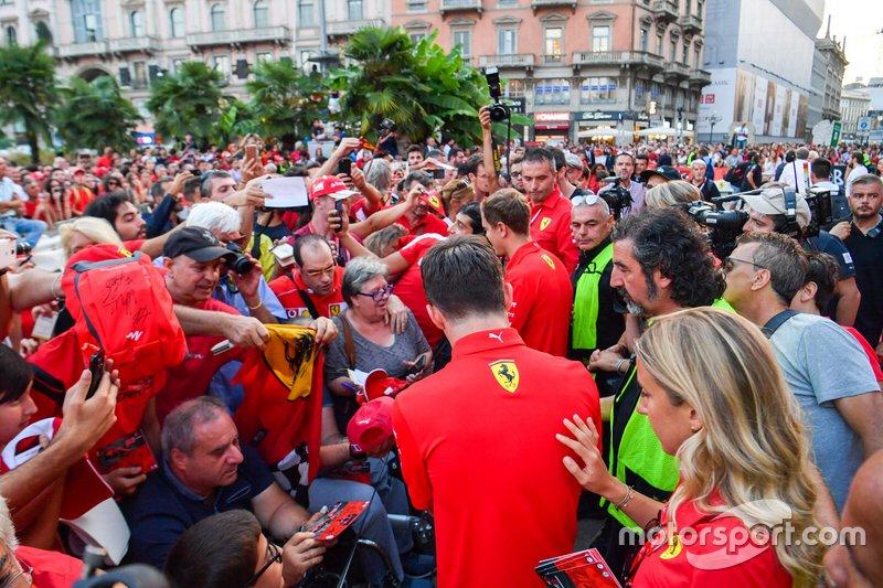 Charles Leclerc, Ferrari and Sebastian Vettel, Ferrari sign autographs for fans