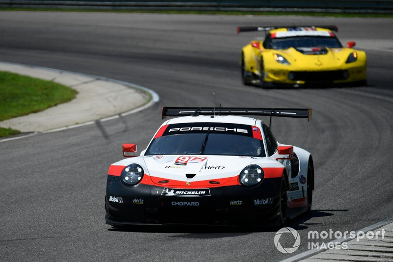 #912 Porsche GT Team Porsche 911 RSR, GTLM: Earl Bamber, Laurens Vanthoor, #3 Corvette Racing Corvette C7.R, GTLM: Jan Magnussen, Antonio Garcia