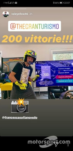 Two hundred victories for Valentino Rossi in the Gran Turismo game of the Playstation