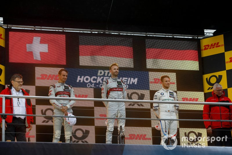 Champion ship Podium: Champion René Rast, Audi Sport Team Rosberg. second place Nico Müller, Audi Sport Team Abt Sportsline, third place Marco Wittmann, BMW Team RMG