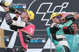 Podium: race winnaar Marcos Ramirez, Leopard Racing, tweede Tony Arbolino, Team O