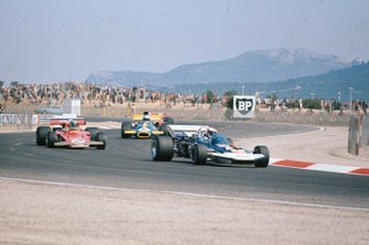 Rolf Stommelen, Surtees TS9 Ford, Reine Wisell, Lotus 72C Ford, Tim Schenken, Brabham BT33 Ford, GP di Francia del 1971