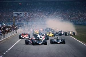 Mario Andretti, Lotus 79 Ford, leads from teammate Ronnie Peterson and Niki Lauda, Brabham BT46 Alfa Romeo, at the start, as Riccardo Patrese, Arrows FA1 Ford, runs wide on to the grass