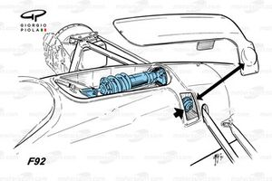 Ferrari F92A, dettaglio mono shock
