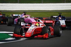 Mick Schumacher, Prema Racing, leads Louis Deletraz, Charouz Racing System, and Artem Markelov, BWT HWA Racelab