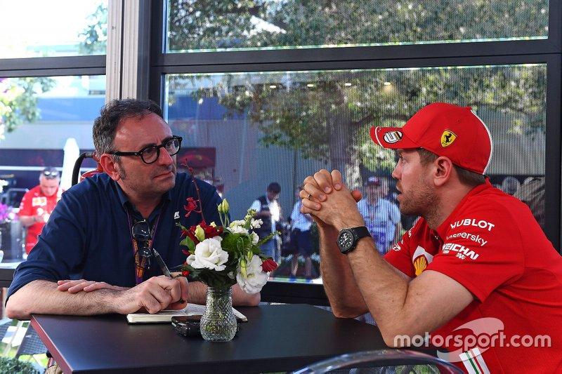 Roberto Chinchero, Motorsport.com ITA con Sebastian Vettel, Ferrari
