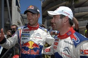 Winner Sebastien Ogier, with 2nd placed Sebastien Loeb, Citroen