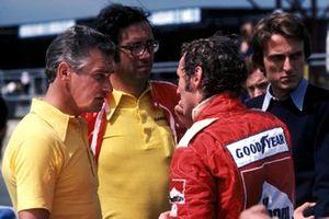 Bert Baldwin, Mauro Forghieri, Ferrari designer, Niki Lauda, Ferrari Luca de Montezemolo, Presidente Ferrari, GP di Gran Bretagna del 1975