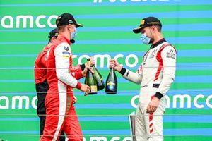 Callum Ilott, UNI-Virtuosi, Mick Schumacher, Prema Racing and Race winner Luca Ghiotto, Hitech Grand Prix celbrate on the podium