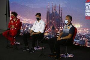 Mattia Binotto, Team Principal Ferrari, Toto Wolff, Executive Director (Business), Mercedes AMG and Mario Isola, Racing Manager, Pirelli Motorsport