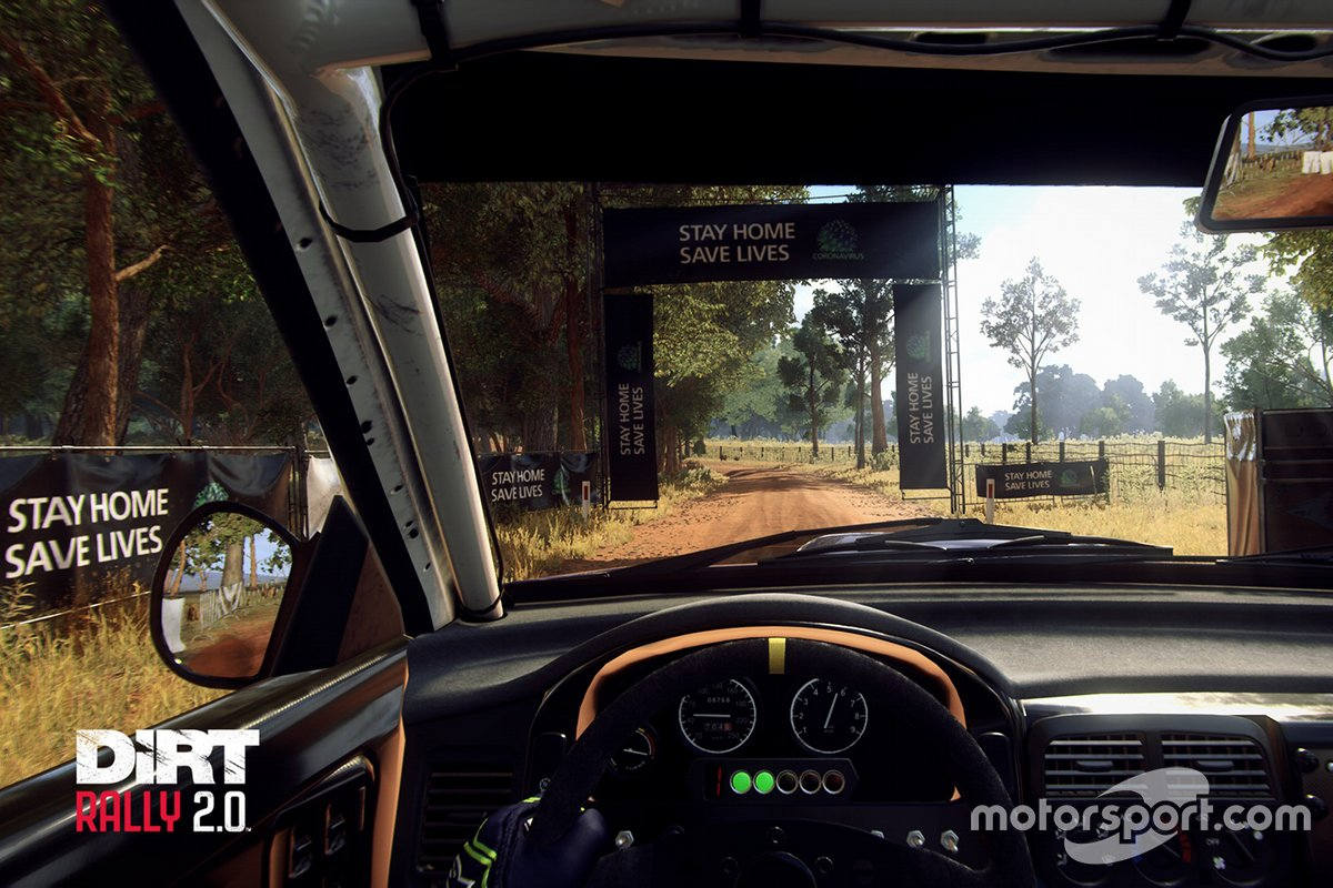 Stay Home Save Lives message in Dirt Rally 2.0