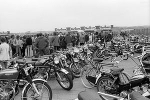 Collection of motorbikes used by spectators