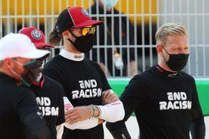 Valtteri Bottas, Mercedes-AMG Petronas F1, Kimi Raikkonen, Alfa Romeo, Antonio Giovinazzi, Alfa Romeo and Kevin Magnussen, Haas F1