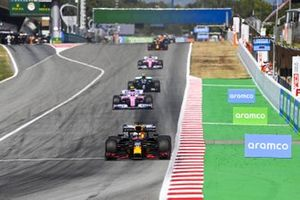 Max Verstappen, Red Bull Racing RB16, Lance Stroll, Racing Point RP20 and Valtteri Bottas, Mercedes F1 W11 EQ Performance